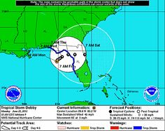 The way they have Debby's path now, looks like it could make a complete loop and re-enter on the east coast. Just guessing. [Image of 5-day forecast and coastal areas under a warning or a watch]