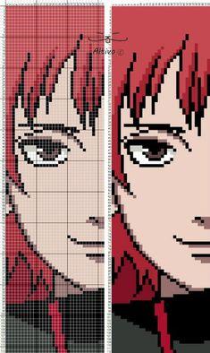 Sasori from Naruto Cross Stitch Bookmarks, Beaded Cross Stitch, Pixel Pattern, Pattern Art, Loom Beading, Beading Patterns, Cross Stitch Designs, Cross Stitch Patterns, Pixel Art Anime