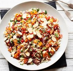 Wow your guests with a fruity flavour-packed twist on the North African staple. Delicious Vegan Recipes, Vegetarian Recipes, Cooking Recipes, Healthy Recipes, Couscous Recipes, Salad Recipes, Cauliflower Couscous, Mediterranean Dishes, Side Salad