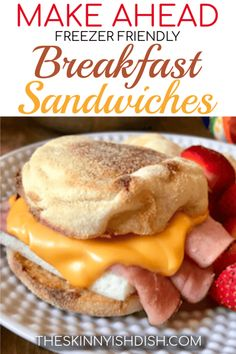 Mornings just got easier when you learn how to make these Make Ahead Freezer Friendly Breakfast Sandwiches! English Muffins loaded with eggs and cheese and topped with your favorite breakfast meat of choice. You now have a quick, grab and go breakfast th Frozen Breakfast, Breakfast Meat, Make Ahead Breakfast Sandwich, Grab And Go Breakfast, Breakfast Recipes, Mexican Breakfast, Breakfast Smoothies, Breakfast Dishes, Petit Déjeuner Weight Watcher