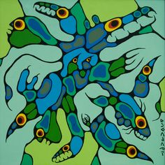 Norval Morrisseau-Inorganic Beings Original Paintings (Oils) Native American Artists, Canadian Artists, Canadian Painters, Choses Cool, Woodland Art, Aboriginal Artists, Indigenous Art, Native Art, Indian Art