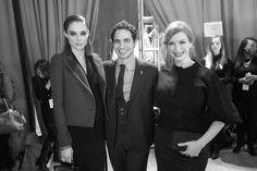 Coco Rocha, Zac Posen et Christina Hendricks en backstage du défilé Zac Posen automne-hiver 2015-2016
