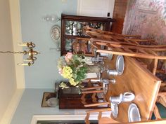 """My fresh """"new"""" dining room!!! Paint color... Sherwin -Williams 6225 sleepy blue. So soothing and bright ."""
