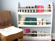 Organizing Idea: Stationery Rack - Use the Pottery Barn Kids Madison Bookrack for stationery and art supplies--details and more pictures on That Sort of Blog.