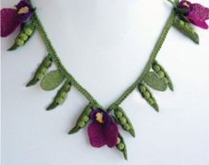 Needle Crochet Green Peas and Flowers  Vegetable Necklace,plum necklace,purple necklace,peas necklace,green peas bib,statement necklace,pink
