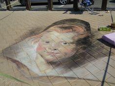 krijt tekening naar Rubens chalk pastel streetart