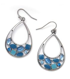 Rain Drops Earrings:   Bezel-set aqua and blue cut crystals, light sapphire glass cat's eye and epoxy stones are trapped in a net of matte silver.      Price:  $32.00