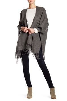 Grey Wool Fringe Ruana Wrap