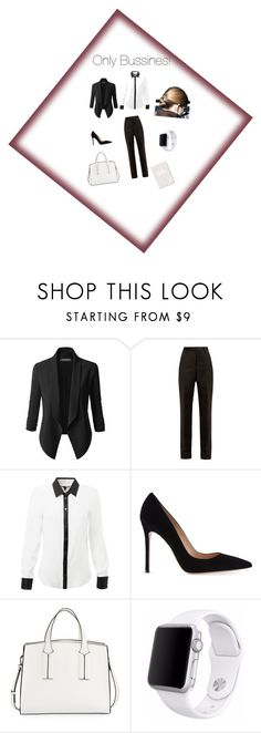 """""""Bussines Woman!"""" by maidpolyvore ❤ liked on Polyvore featuring LE3NO, Maison Margiela, Gianvito Rossi, French Connection, Apple and Fringe"""