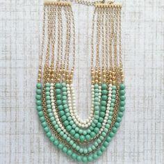 Mint Multi Strand Necklace