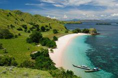 Una playa de arena rosa en Komodo, Indonesia