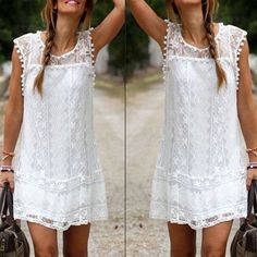 Women's Casual Solid Lace Mini Dress, White Dress for Ladies, Mini Summer Dress White
