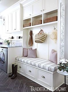 Awesome 90 Awesome Laundry Room Design and Organization Ideas Small laundry room ideas Laundry room decor Laundry room storage Laundry room shelves Small laundry room makeover Laundry closet ideas And Dryer Store Toilet Saving Furniture, Room Design, Interior, Laundry Room Design, Home Decor, Room Inspiration, Room Remodeling, Bench With Storage, Mudroom Laundry Room