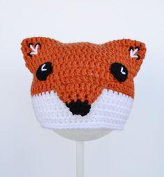 Crochet Fox Hat, Crochet Beanie, 6 to 12 mo, Ready to Ship
