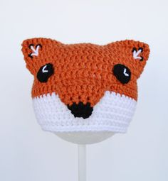 Crochet Fox Hat, Crochet Beanie, 6 to 12 mo, Ready to Ship