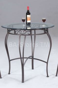 Chintaly Imports Furniture Wrought Iron Counter Table with Antique Taupe Base and Glass Top | Bar, Pub Tables & Sets 0710-CNT/3