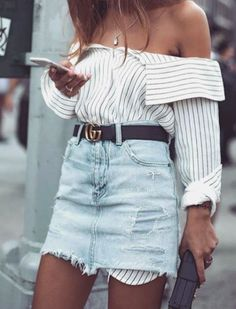 stripe shirt + denim skirt