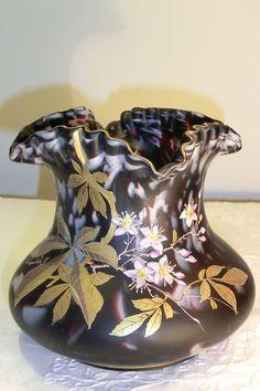 HARRACH VARIEGATED GLASS VASE WITH GOLD ENAMEL. Circa 1900 www.madforglass.com