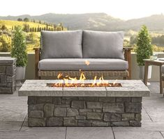 Sedona 52 in. Rectangle Propane Fire Table in Grey w/ Natural Gas Conversion Kit - Real Flame a durable, natural looking flagstone top and a faux stacked stone base, the Sedona Rectangle Gas fire table will create a dramatic focal point a Outdoor Fire Table, Gas Fire Pit Table, Fire Pit Area, Outdoor Living, Outdoor Decor, Outdoor Gas Fire Pit, Propane Fire Pits, Diy Gas Fire Pit, Outdoor Topiary