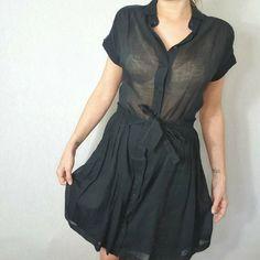 Viktor & Rolf Cotton Shirt Dress Size 42 FR 36 UK 8 10 Black Sheer Designer Goth #ViktorRolf #ShirtDress #PartyCocktail Size 10