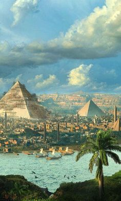 Ancient Egypt ©: [Cityscape and Pyramids]. Ancient Egypt Art, Old Egypt, Ancient Artifacts, Ancient Aliens, Ancient Greece, Fantasy Landscape, Fantasy Art, Dark Fantasy, Egypt Wallpaper