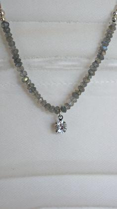 Labradorite semi precious stones and vintage rhinestone necklace.