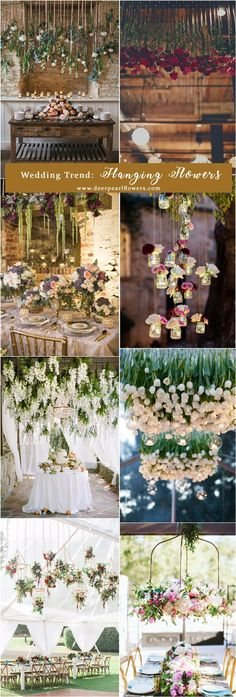 2018 wedding trend ideas - hanging flowers / http://www.deerpearlflowers.com/top-6-wedding-trends-for-2018/