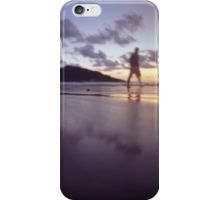 Man walking on beach dusk sunset evening sky Hasselblad medium format film analogue photograph iPhone Case/Skin