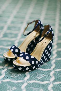 Navy and white Kate Spade platform shoes. @weddingchicks