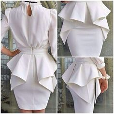 The Perfect Peplum Dress in White. Diy Clothing, Sewing Clothes, Clothing Patterns, Dress Patterns, Fashion Sewing, Diy Fashion, Fashion Dresses, Fashion News, Diy Vetement