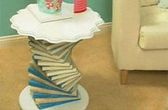 DIY end table made from thrifted books of the same color - great idea to make for #thestudy out of old encyclopedias :)