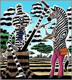 """Soul King"" Brook is the musician of the Straw Hat Pirates. He is having a fun day with a Zebra Person."
