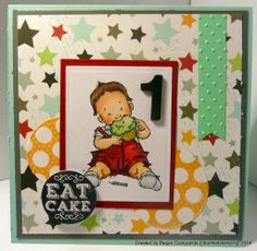 Charmed Stamping: Mo's Digital Pencil Kai is One first birthday handmade card
