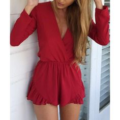 Sexy Solid Color Long Sleeve Plunging Neckline Ruffled Romper For Women