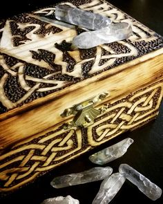 "Mul Riik (""Strong gale"" from Alduin's Mist Thu'um) trinket box with lesser Soul Gems.  Skyrim. Elder Scrolls. Trinket box woodburned by Kael Lampe of Gaelhunter Hatchery."