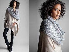 Hand-Knit Infinity Wrap in Washed Mohair Dream with Sequins ~Eileen Fisher