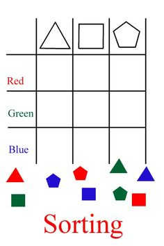Great math/science worksheets, THEY HAVE TO SORT BY COLOR AND BY SHAPE