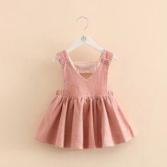 Ребенок чистый цвет платье 2018 весна корейский новые девушки дети детей упругие талии ремешок платье КЗ-3663-Таобао