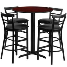 24'' Round Mahogany Laminate Table Set with 4 Ladder Back Metal Bar Stools - Black Vinyl Seat [HDBF1034-GG] by Belnick Inc. by Belnick Inc.. $290.00. No need to buy in pieces, this complete Bar Height Table and Stool set will save you time and money! This set includes an elegant Mahogany Laminate Table Top, X-Base and 4 Metal Ladder Back Bar Stools. Use this setup in Bars, Banquet Halls, Restaurants, Break Room/Cafeteria Settings or any other social gathering. Mix in Bar Height...