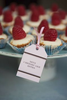 mini cheesecake bites @ roxirola...the little name tags look kinda like the shape of a tea bag!!???