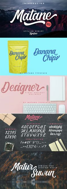 Matane Script Font is a stylish hand painting script. It has dynamic and beautiful opentype features. Matane is great for Apparel Brand, Logo Design, etc. Food Brand Logos, Image Overlay, Font Setting, Photoshop Actions, Adobe Photoshop, Adobe Indesign, Photoshop Tutorial, Book Cover Design, Photography Business