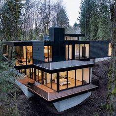 Dream Home Design, Modern House Design, Modern Glass House, Wood House Design, Glass House Design, Home Building Design, Building A House, Amazing Architecture, Architecture Design