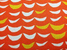 Japanese Fabric - linen blend waves - mustard and natural on orange - fat quarter