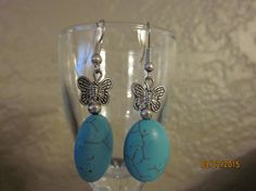 A5 Silver Turquoise Earrings Oval w/ by ParadiseKreations on Etsy