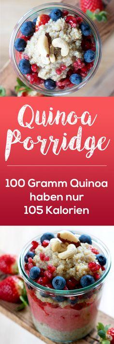 Das etwas andere Porridge. Anstatt Haferflocken wird bei diesem Rezept Quinoa genommen. Mit nur 105 Kalorien auf 100 Gramm ist dieses Frühstück ideal für alle Figurbewussten.  Ideal auch für Veganer, denn Quinoa ist eine der besten pflanzlichen Eiweißquellen.  Außerdem beugt es Heißhungerattacken vor und hält lange satt. #breakfast #quinoa #porrdige #vegan