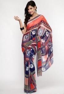 Ethnic Closet Printed Georgette Multi Color Saree