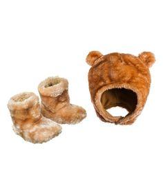 Love this Tan Bear Hat & Booties on #zulily! #zulilyfinds