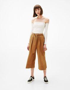 Pantalone culotte popeline - Pantaloni - Bershka Italy 86700578ee9
