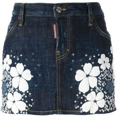 Dsquared2 'Tokyo Flower' denim mini skirt (3.166.555 IDR) ❤ liked on Polyvore featuring skirts, mini skirts, bottoms, denim, blue, mini skirt, blue floral skirt, short miniskirt, short floral skirt and short mini skirts
