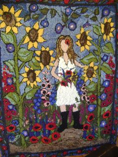 In my Garden- new background - RUG HOOKING DAILY
